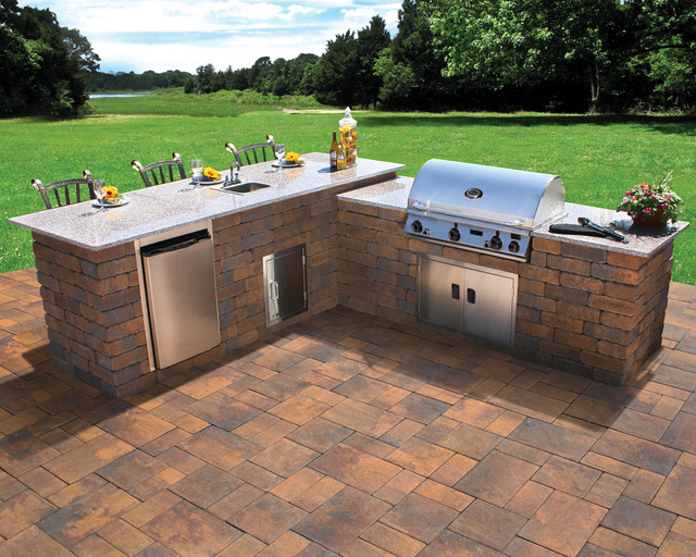 Nicolock Outdoor Kitchen and Grill - Contemporary - Patio ... on Outdoor Grill Patio id=76236