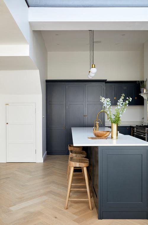 Dark Kitchen Cabinets Help Zone Open Kitchens