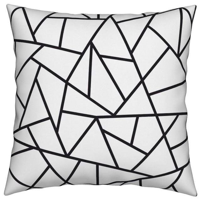 black and white geometric throw pillows