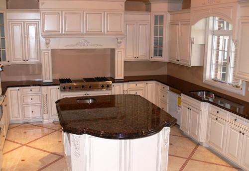 Tan Brown Granite White Cabinets Backsplash Ideas