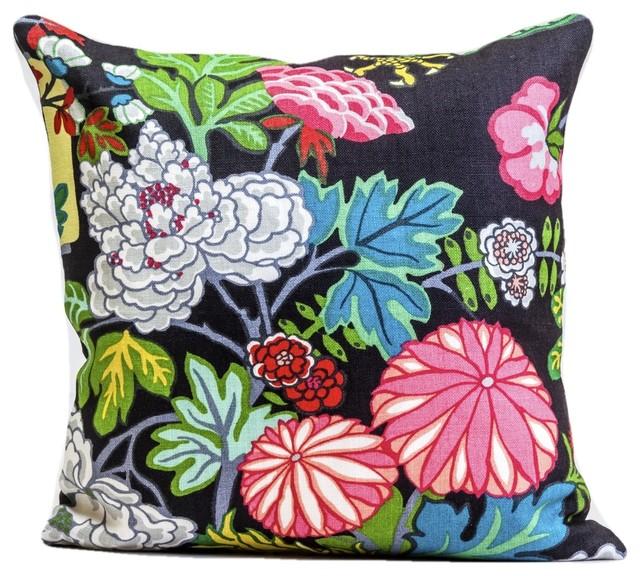 schumacher chiang mai dragon pillow cover ebony 18 x18
