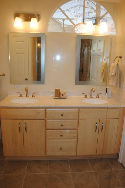 Maple Cabinets, Polystone Top, Delta Addison Fixtures in ... on Bathroom Ideas With Maple Cabinets  id=54829