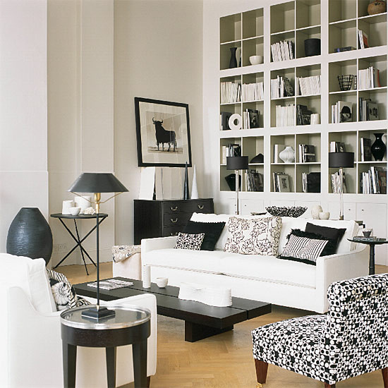 Black White Living Room Contemporary Other