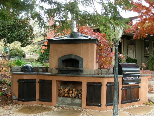 Outdoor Hip Roof Wood Fired Pizza Ovens - Mediterranean ... on Outdoor Patio With Pizza Oven  id=55917