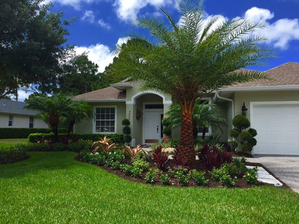 Tropical front & backyard landscapes....Palms & Color ... on Tropical Backyard Landscaping  id=98926