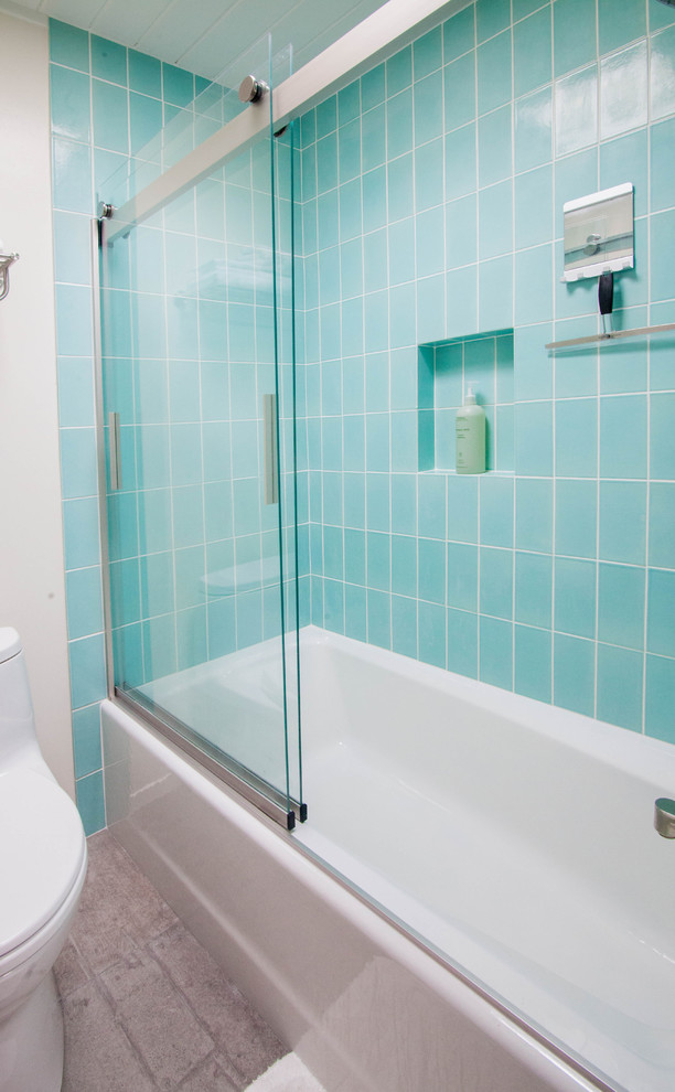 4x8 aqua tile bathroom midcentury