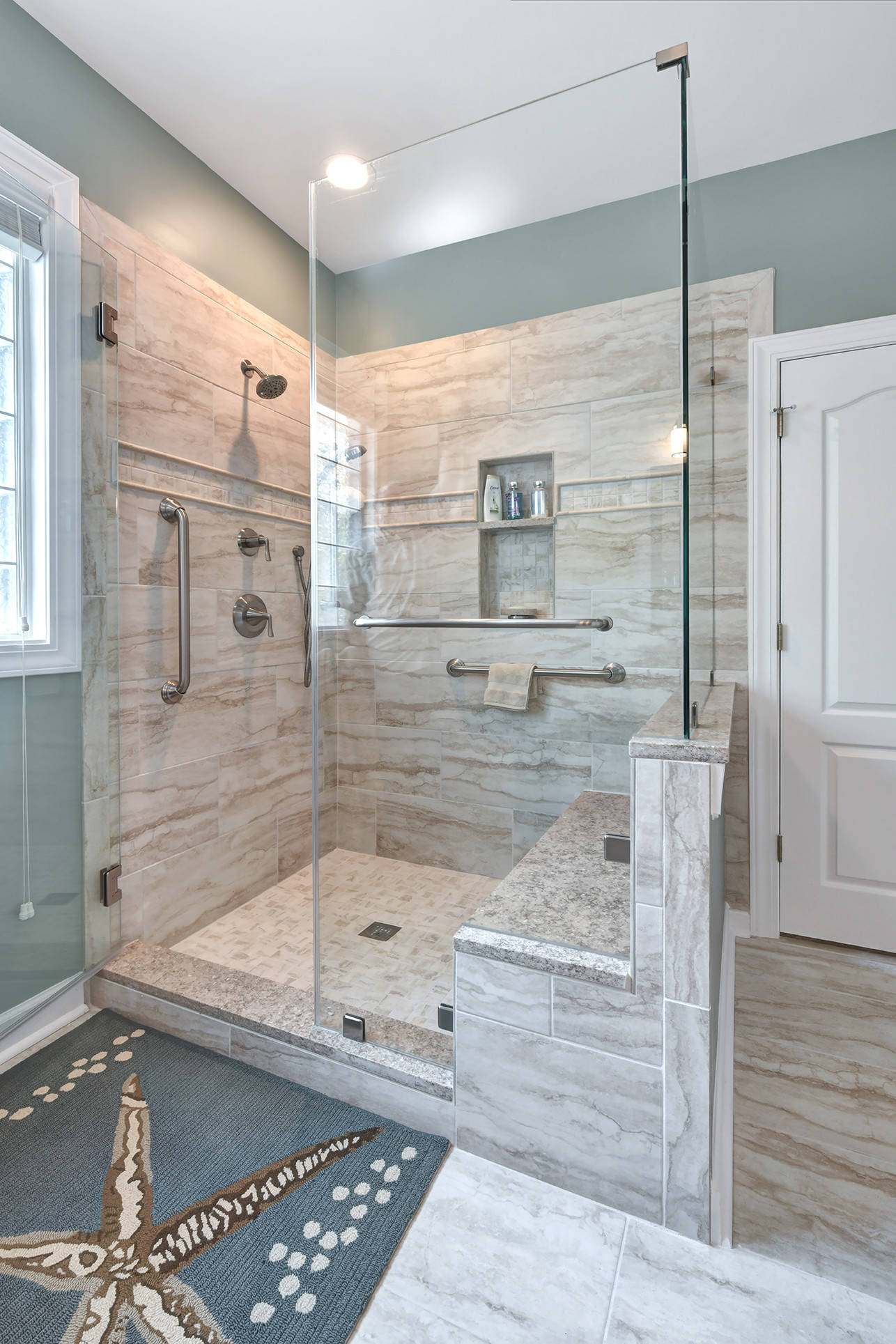 coastal porcelain tile bathroom