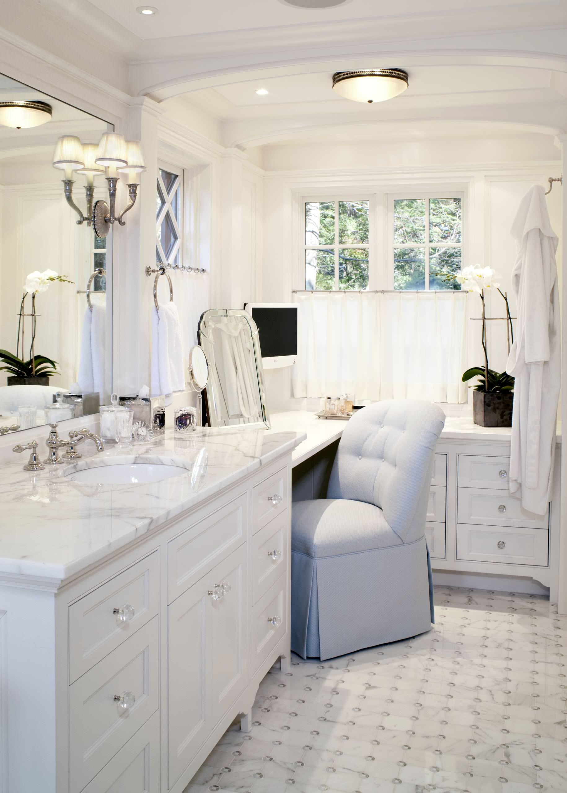 single vanity with makeup area houzz