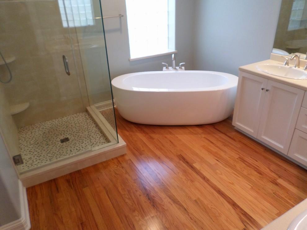 bathroom soaker tub red oak floor