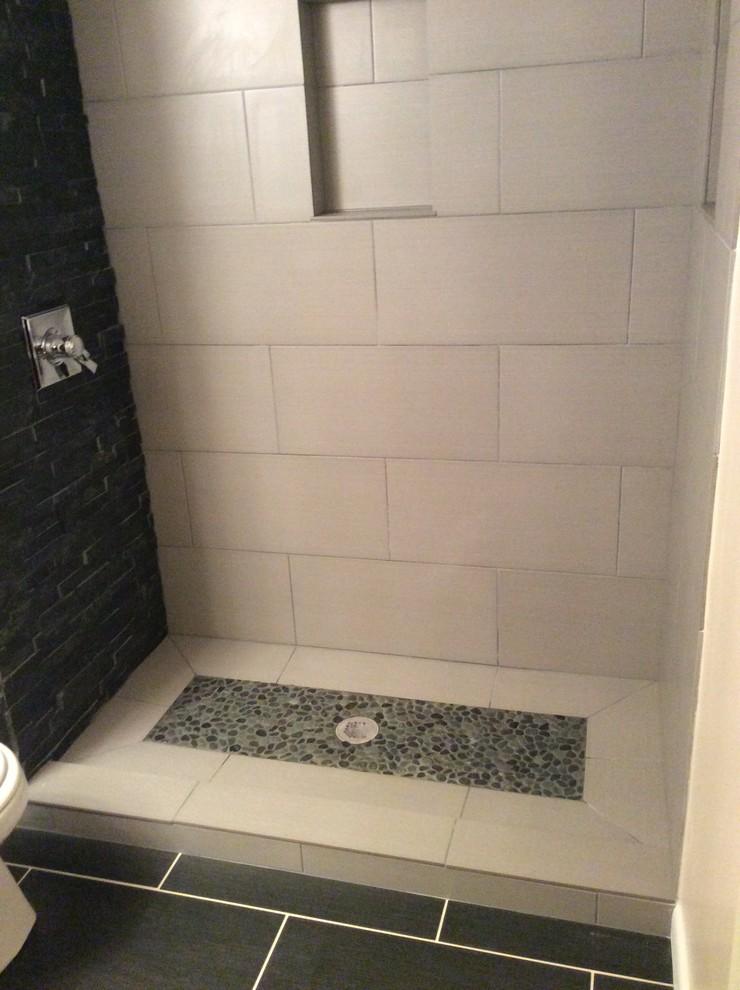 black stone shower w custom shower base