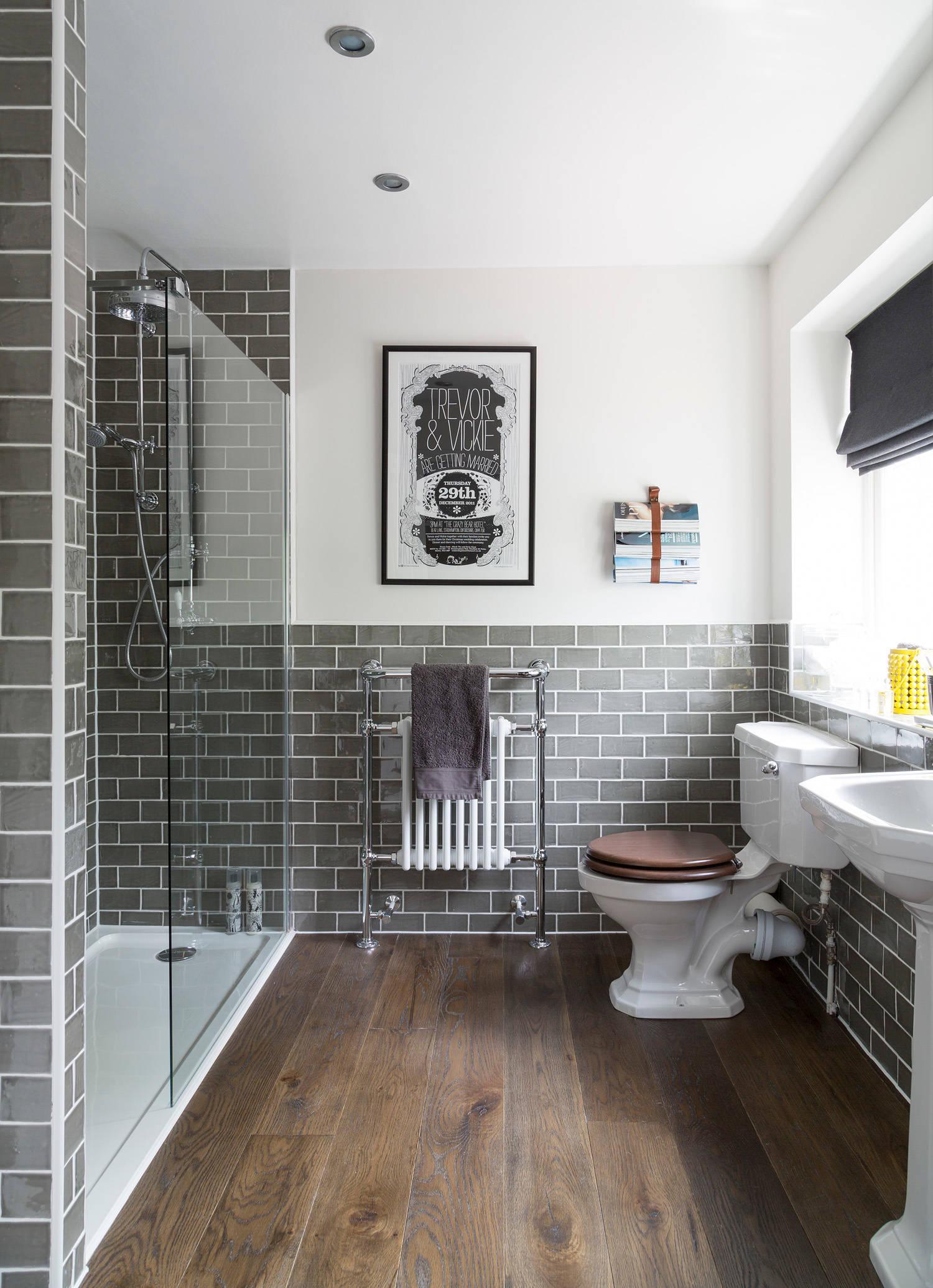 75 beautiful gray bathroom subway tile