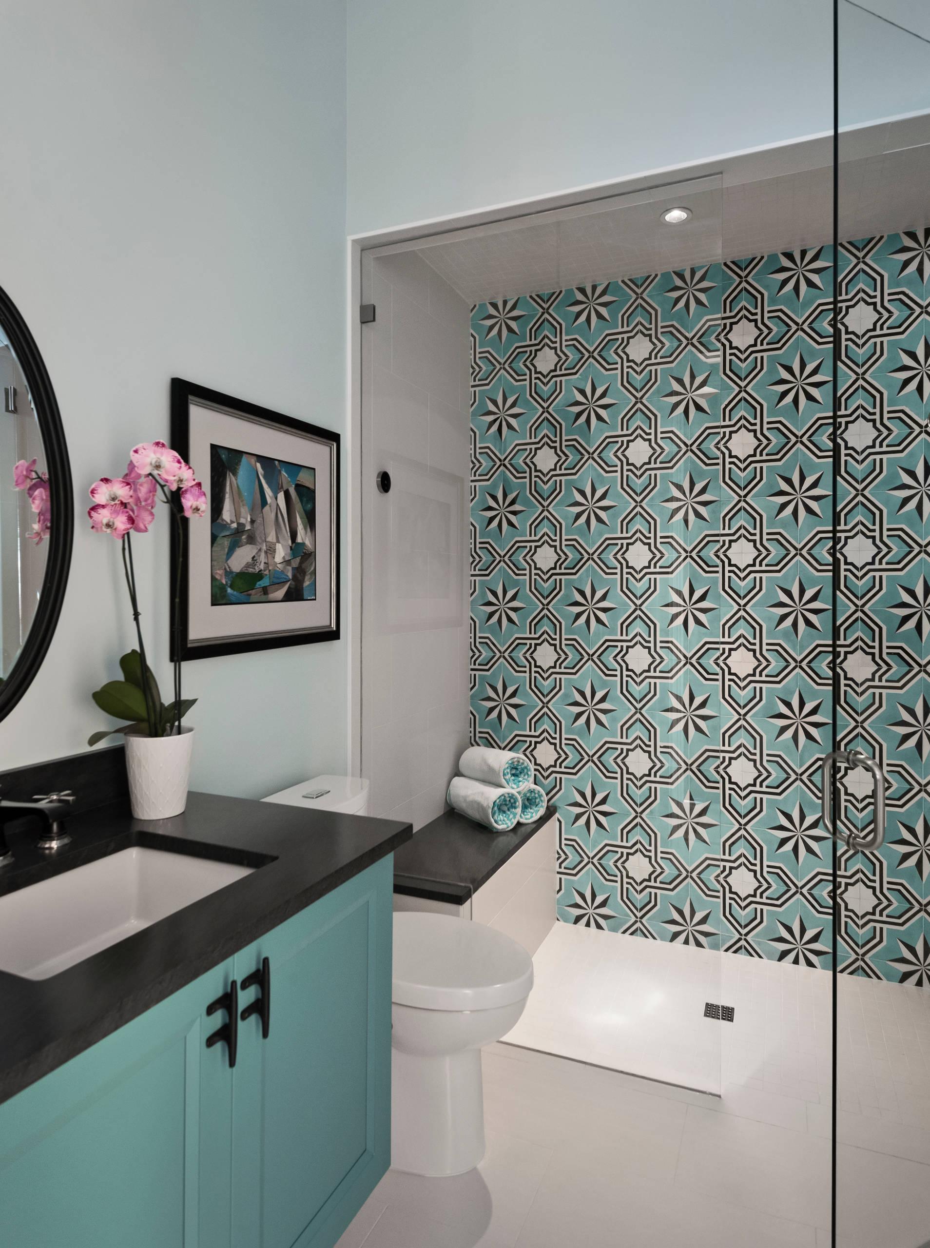 walk in shower with granite countertops