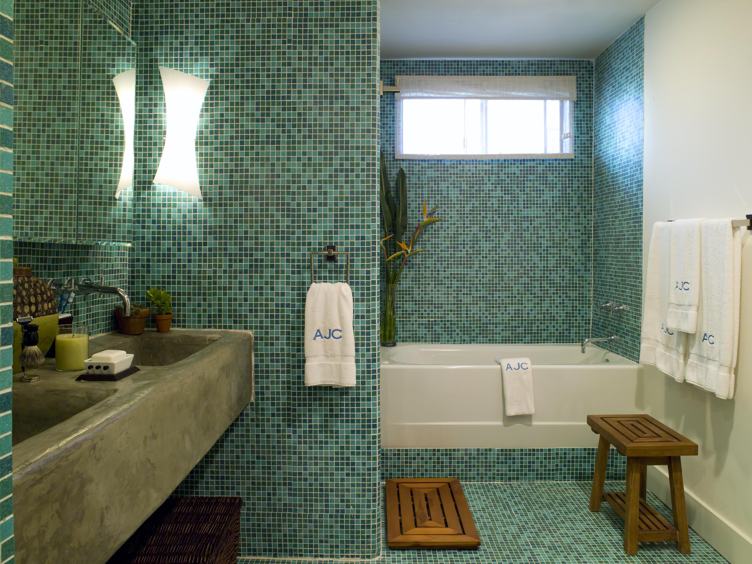 blue and green mosaic tile houzz