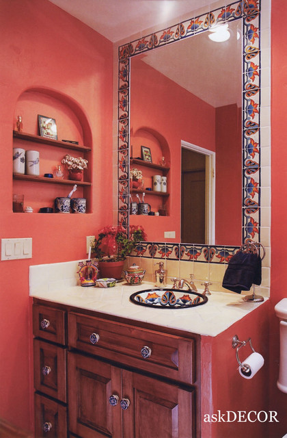 colorful mexican tile surround the