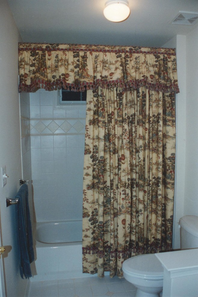 toile valance and shower curtain