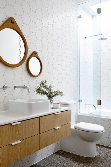 hex tiles big and bold in the bath