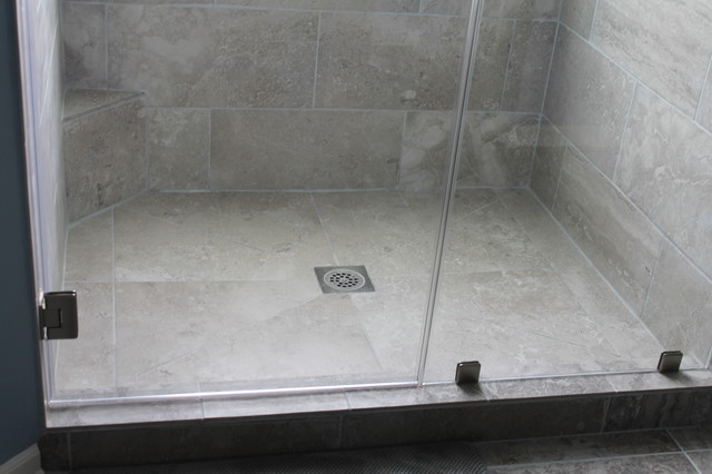 large tile shower floor contemporary