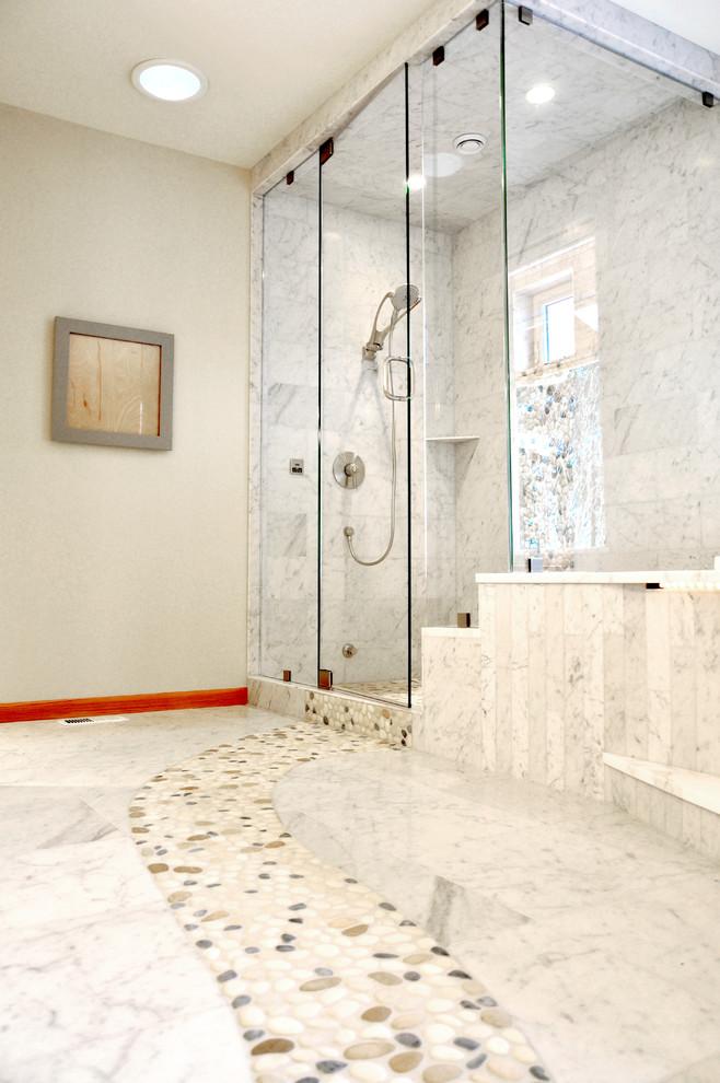 marble bathroom floor with river rock