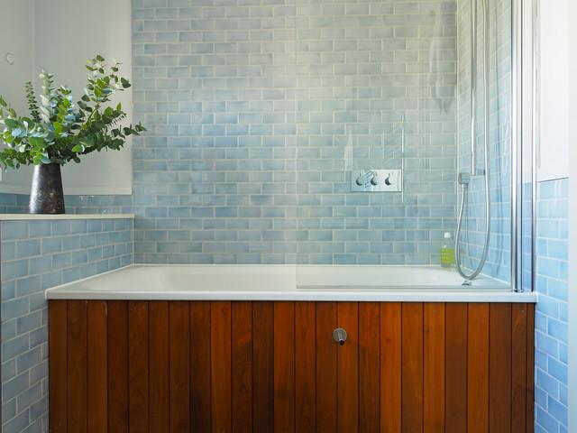 13 baths tiled in beautiful sea glass blue