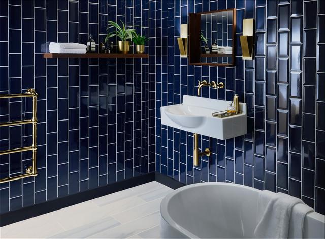 metro deep blue ceramic tile modern
