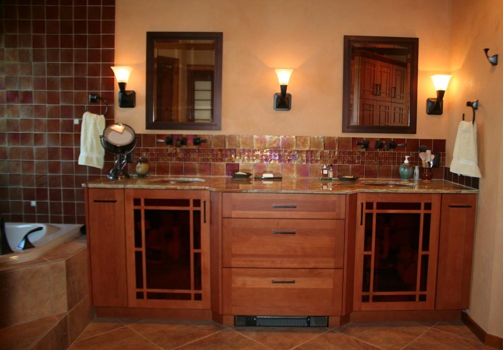 mission style bathroom vanity area