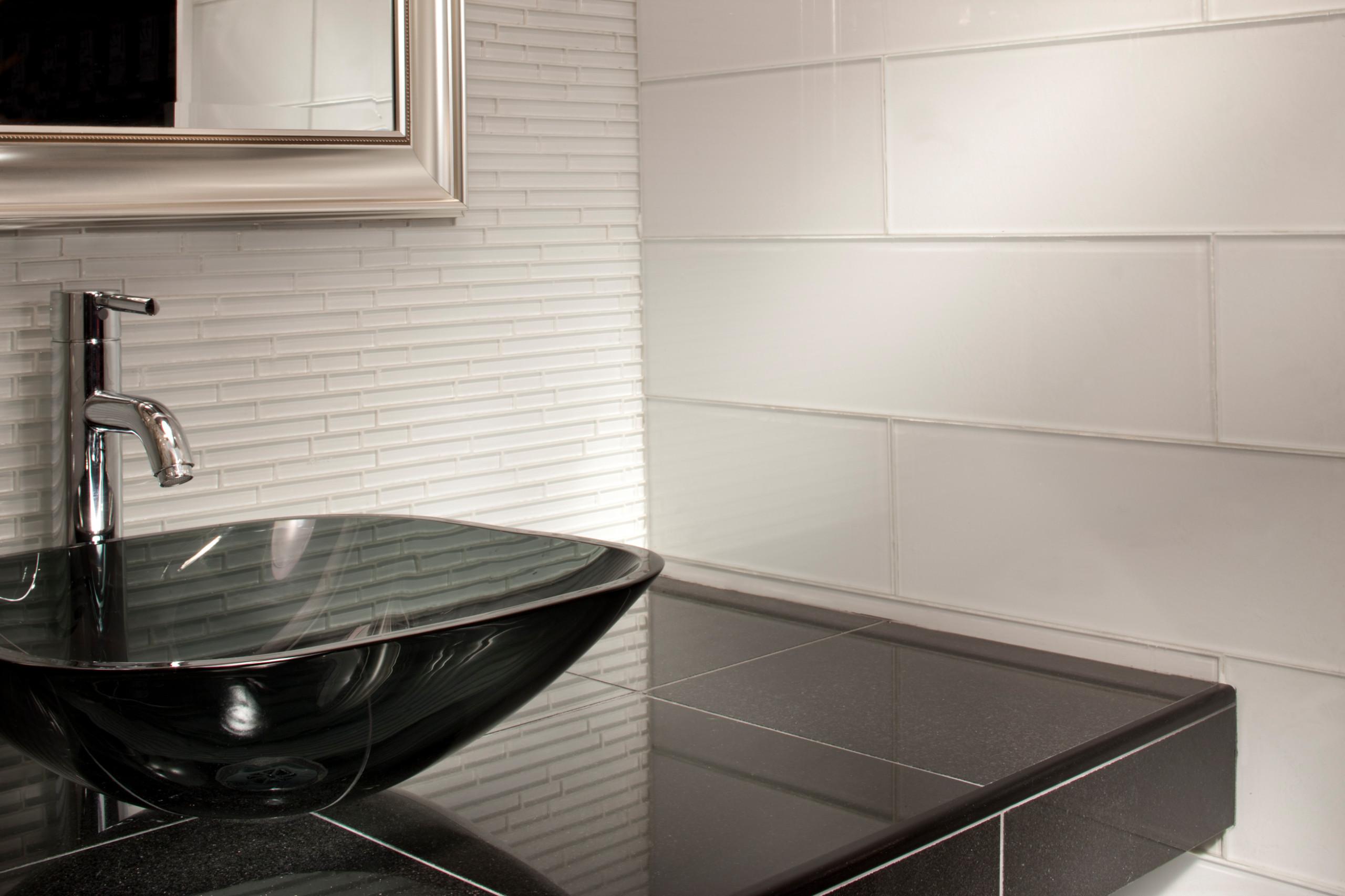 snow white glass tiles houzz