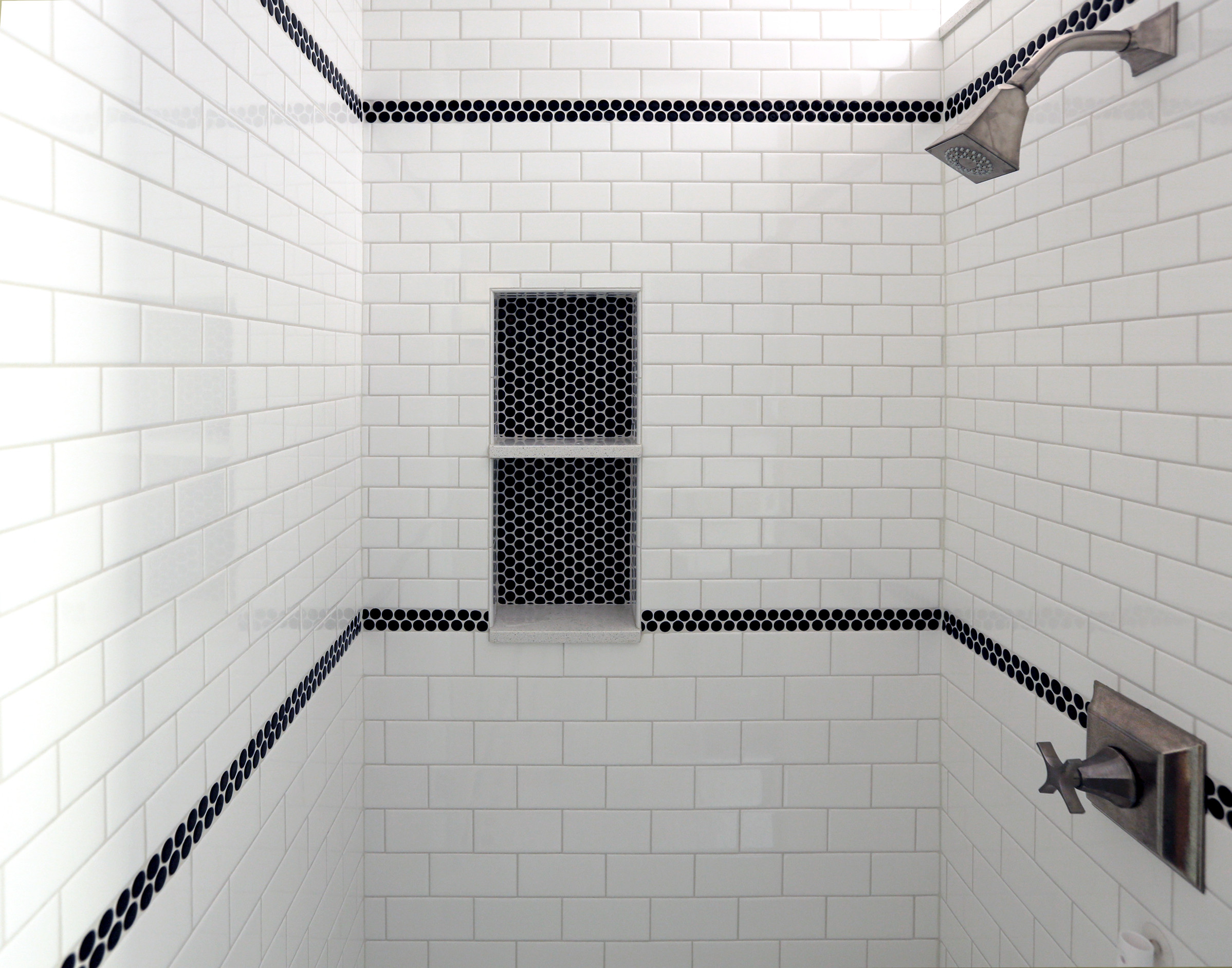white subway tile black accent houzz