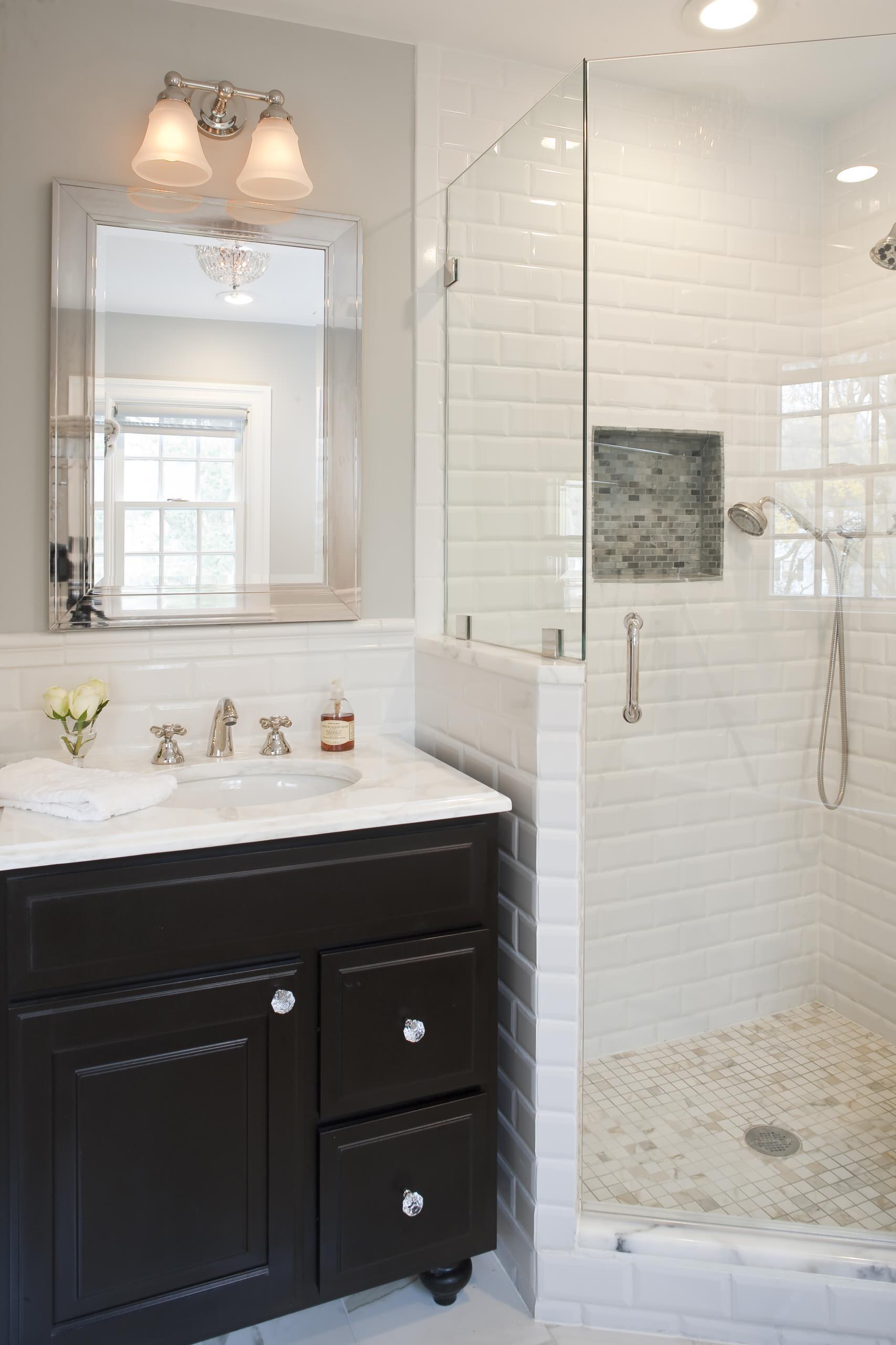 beveled subway tile bathroom ideas houzz