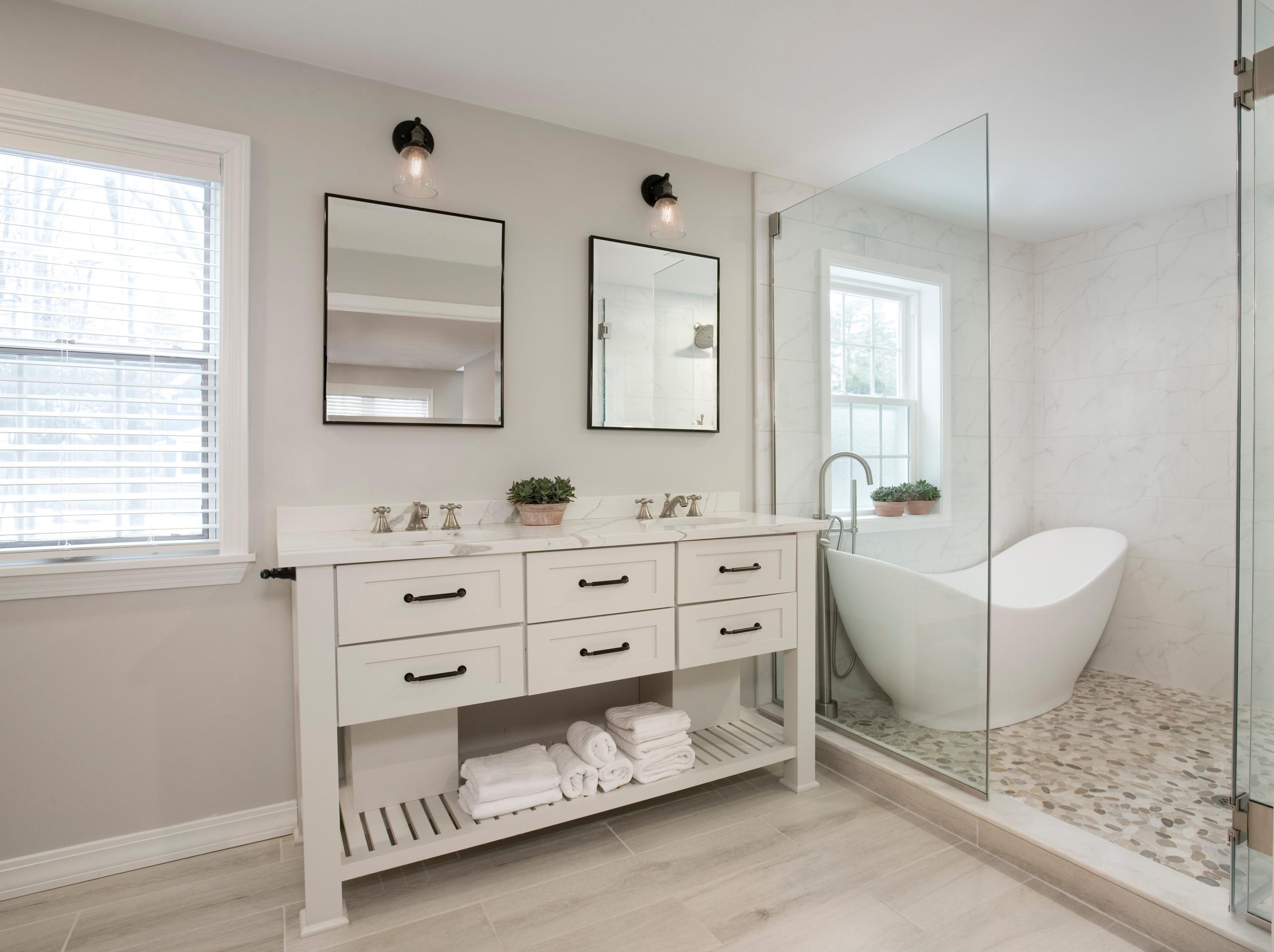 wood look tile floor master bathroom