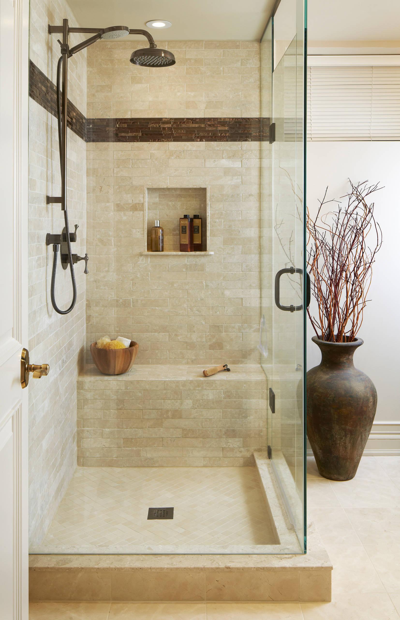 transitional beige tile bathroom