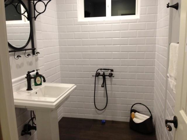 white 4x10 subway tile bathroom