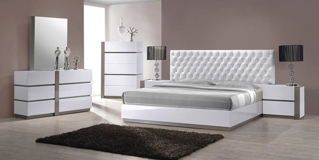 modern white tufted headboard bed group