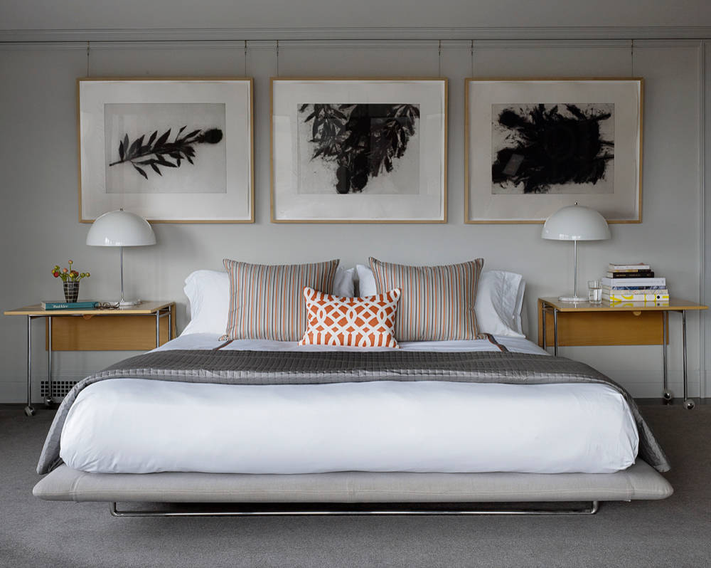 artwork above bed houzz