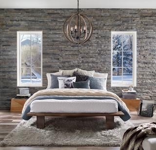 funky chandelier rustic bedroom
