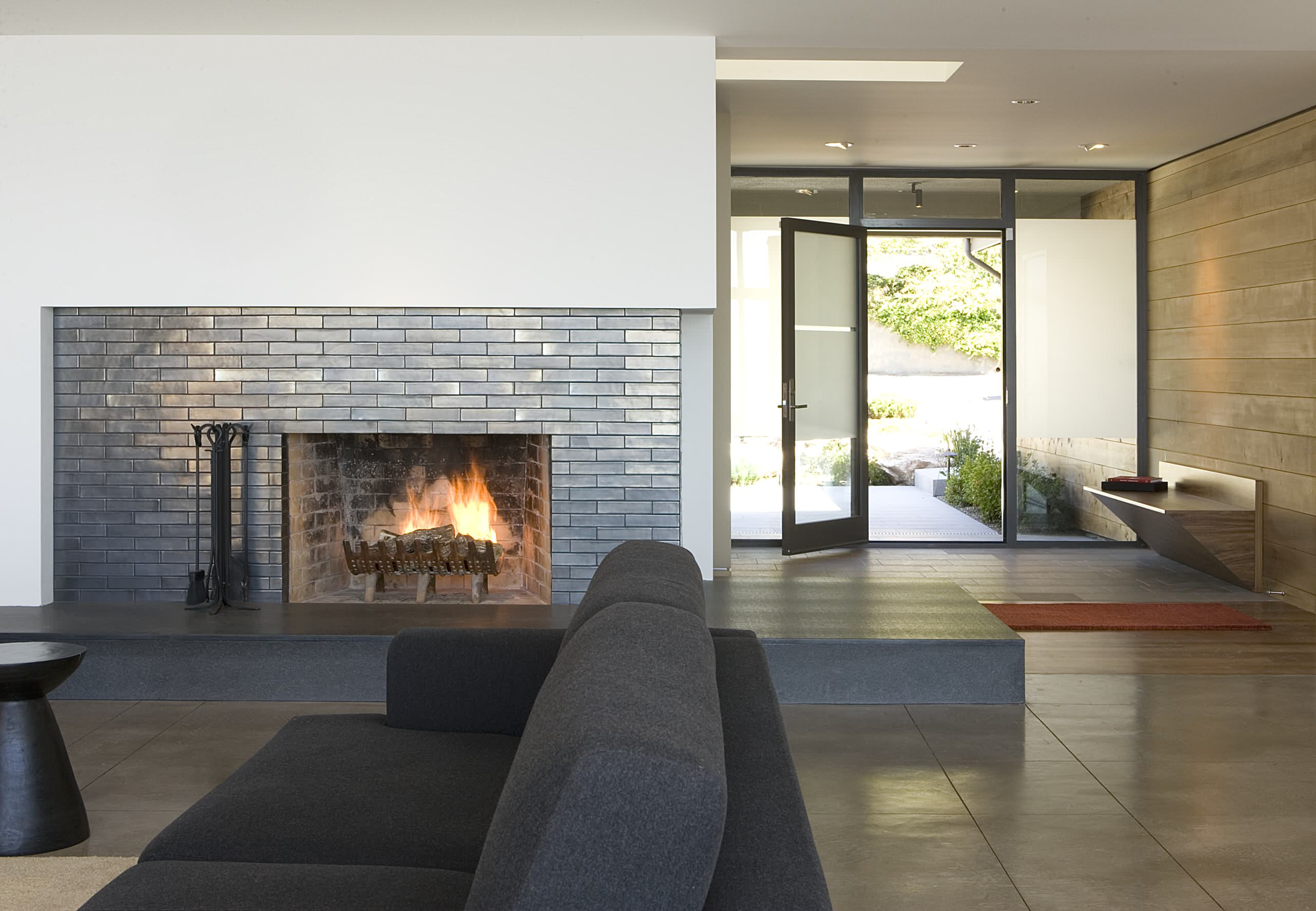 tile floor in front of fireplace ideas