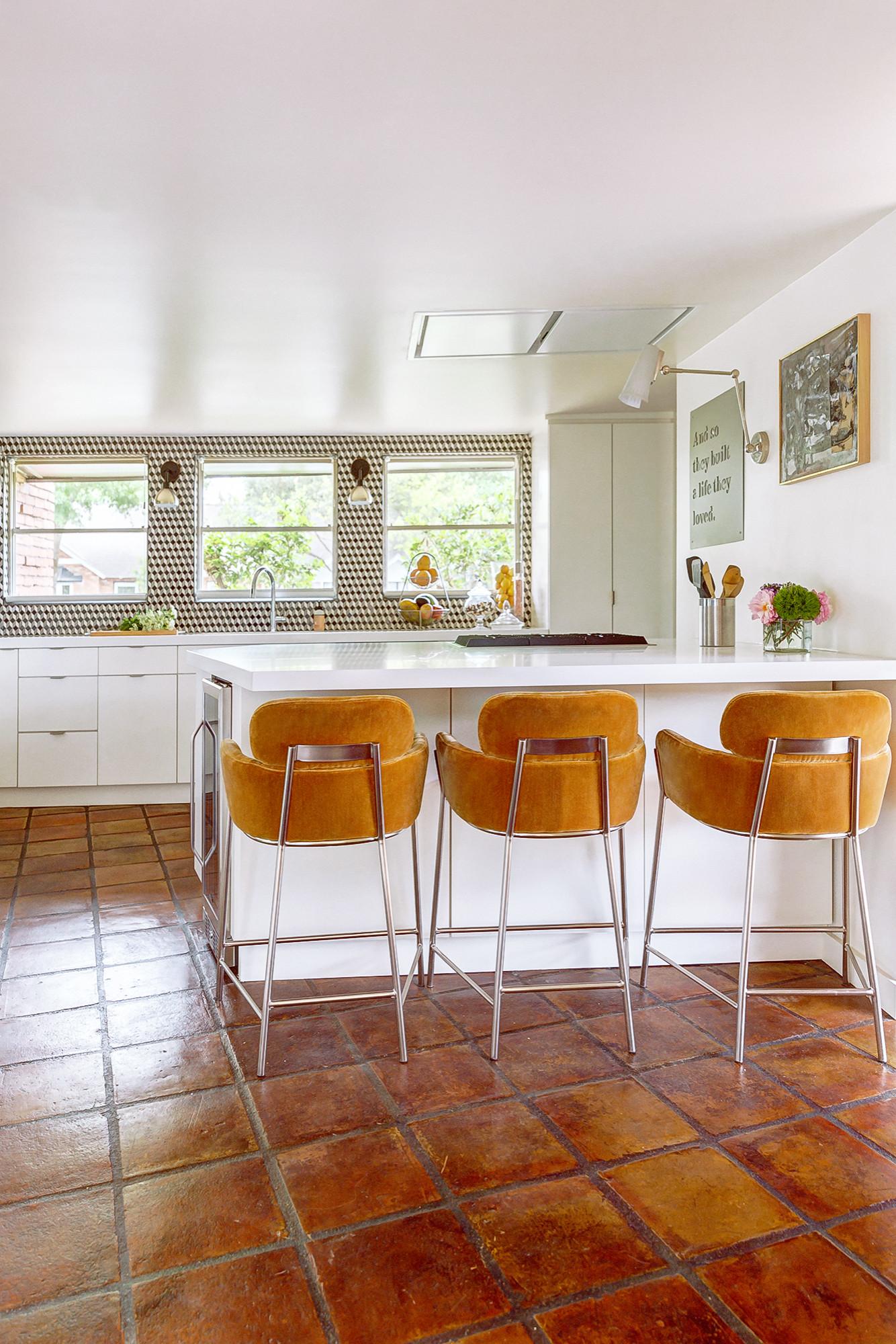terra cotta tile galley kitchen