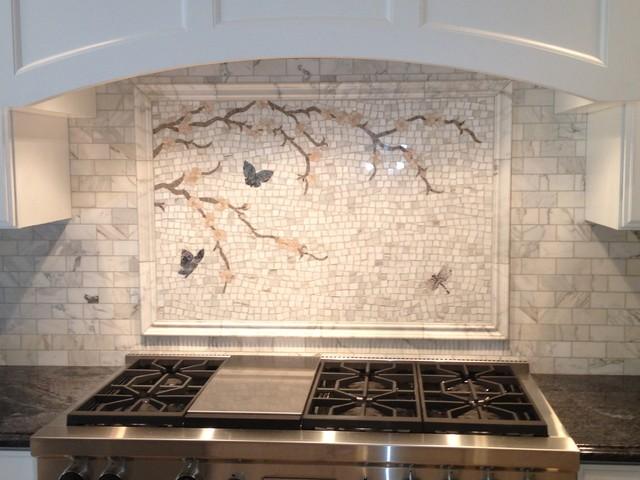 calacatta gold mosaic backsplash