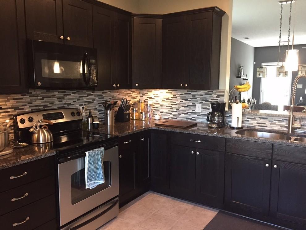 Dark Espresso Shaker Cabinets with Mosaic Tile Backsplash ... on Backsplash For Dark Countertops  id=20855