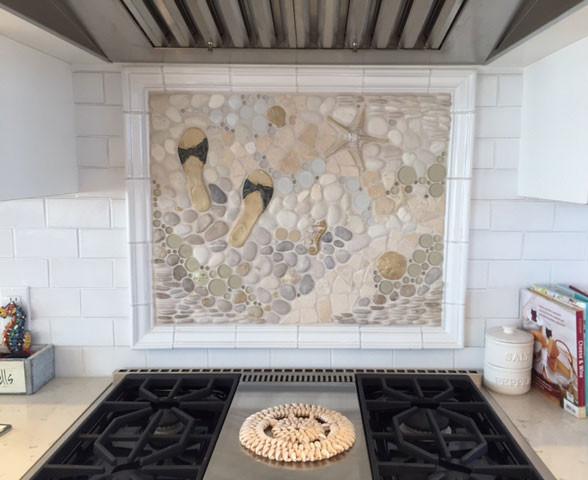 eclectic custom kitchen backsplash