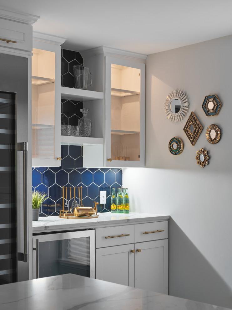 home mini bar with hexagon tile