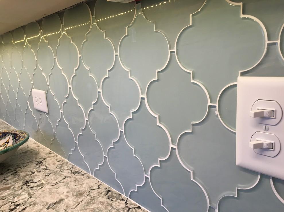 jasper blue arabesque glass tile