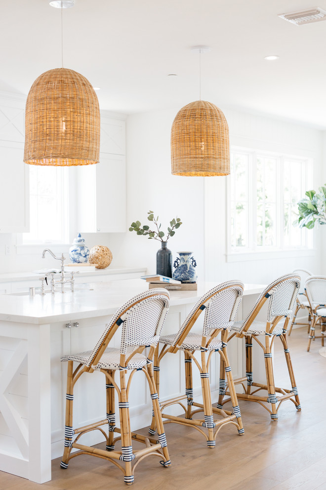 kitchen island with oversize woven