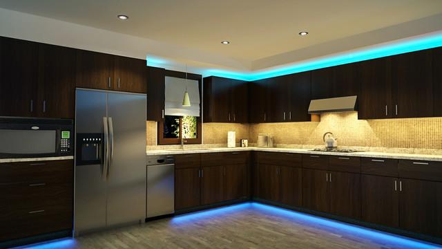 led kitchen cabinet and toe kick