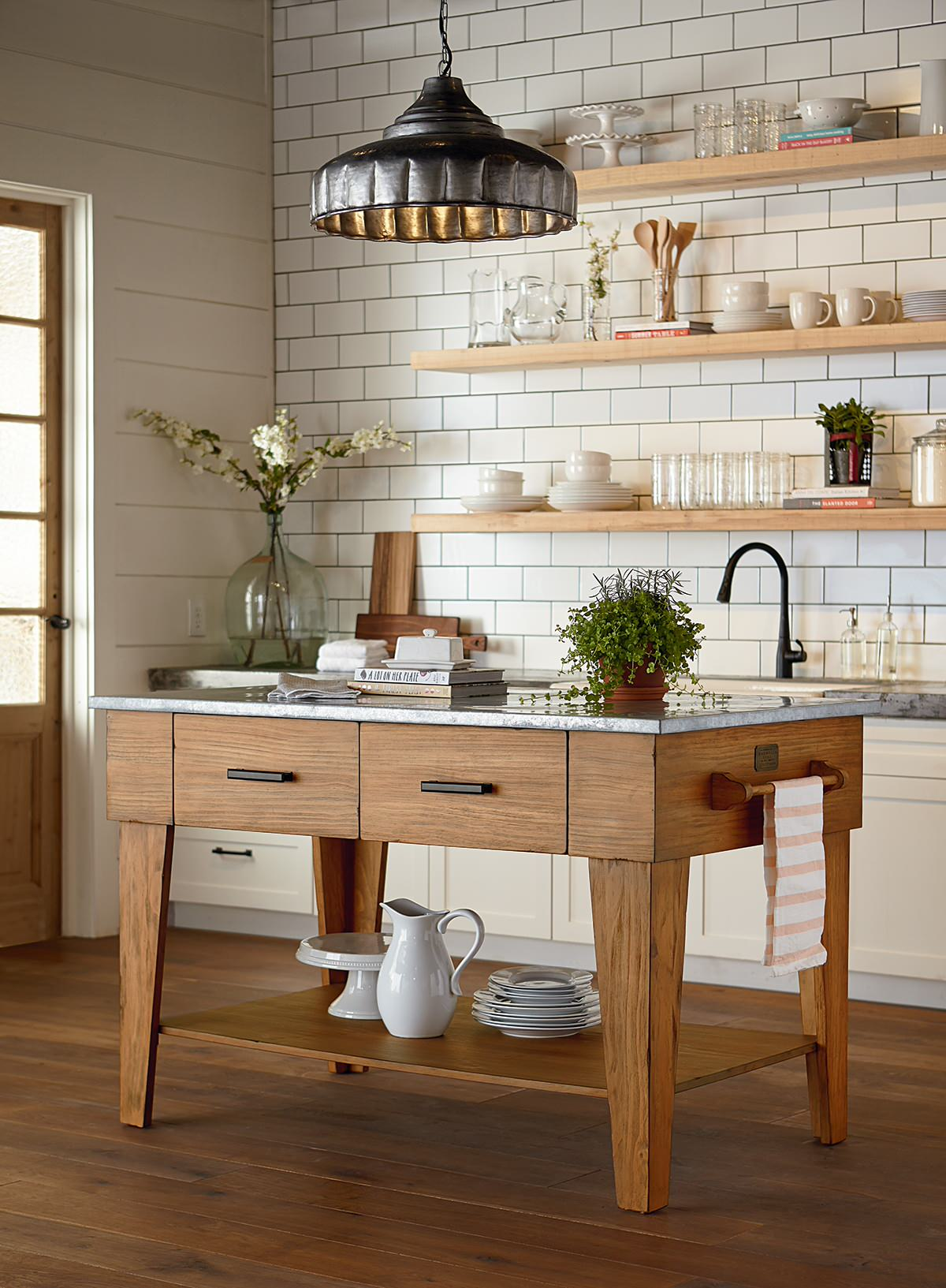 farmhouse sink and zinc countertops