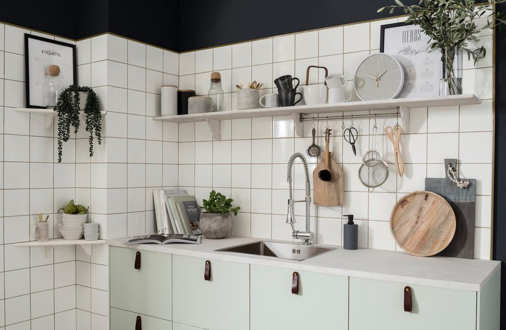 square tile contemporary kitchen