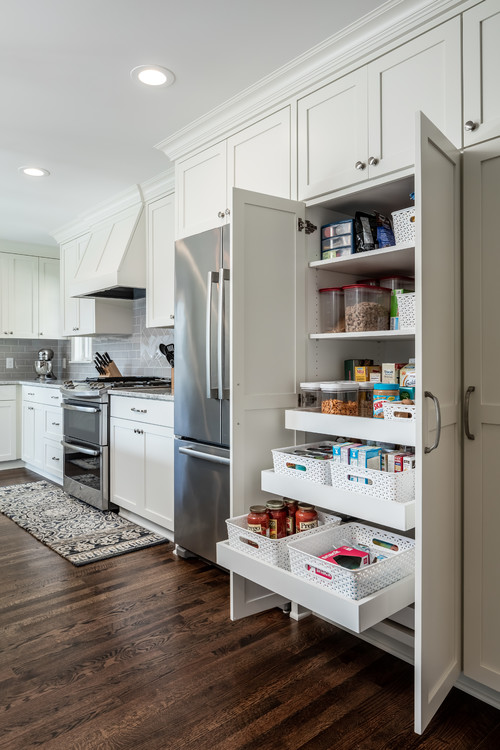 Kitchen Organization Pull Out Pantry Drawers With Storage Bins