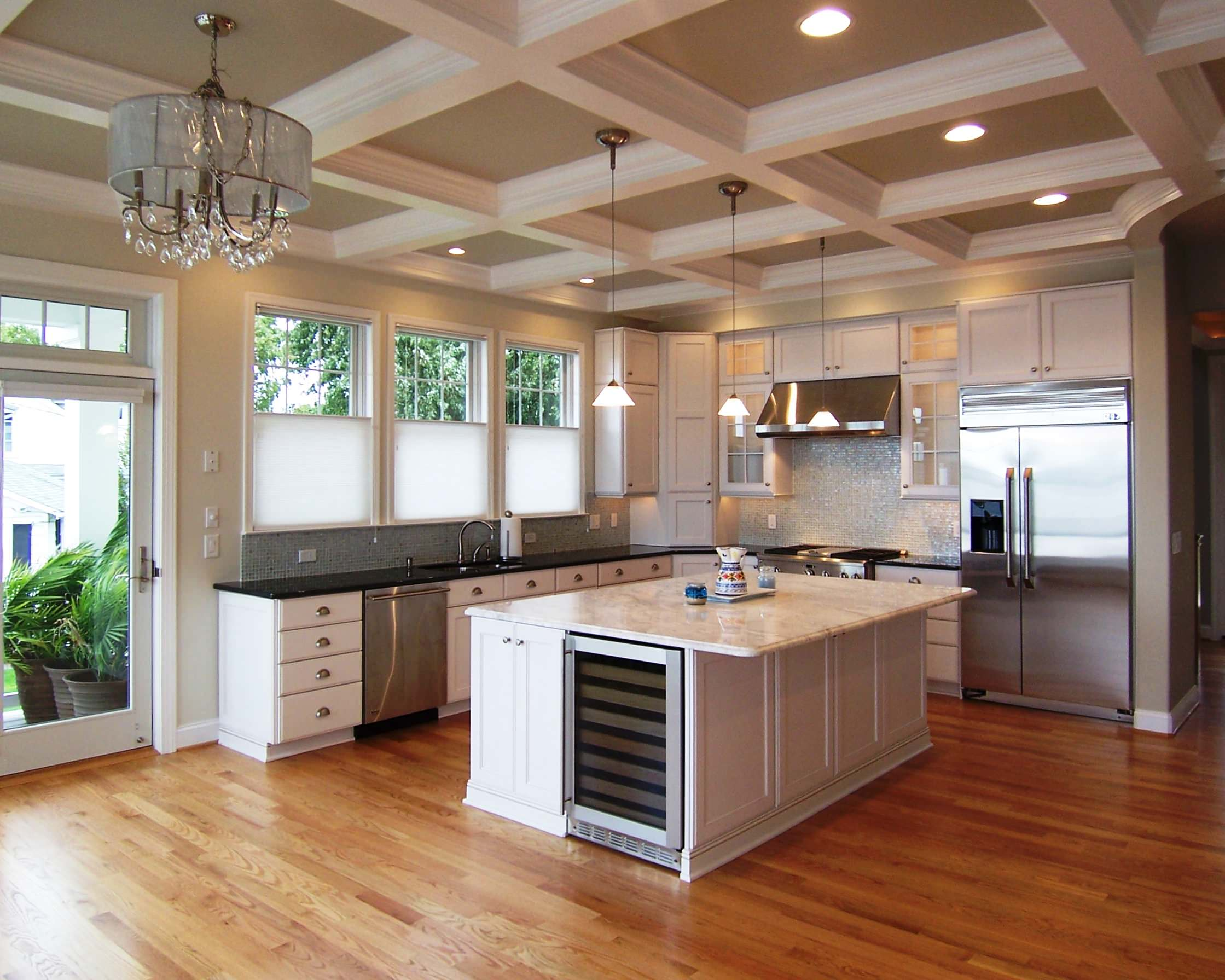 coffered ceiling recessed lighting houzz