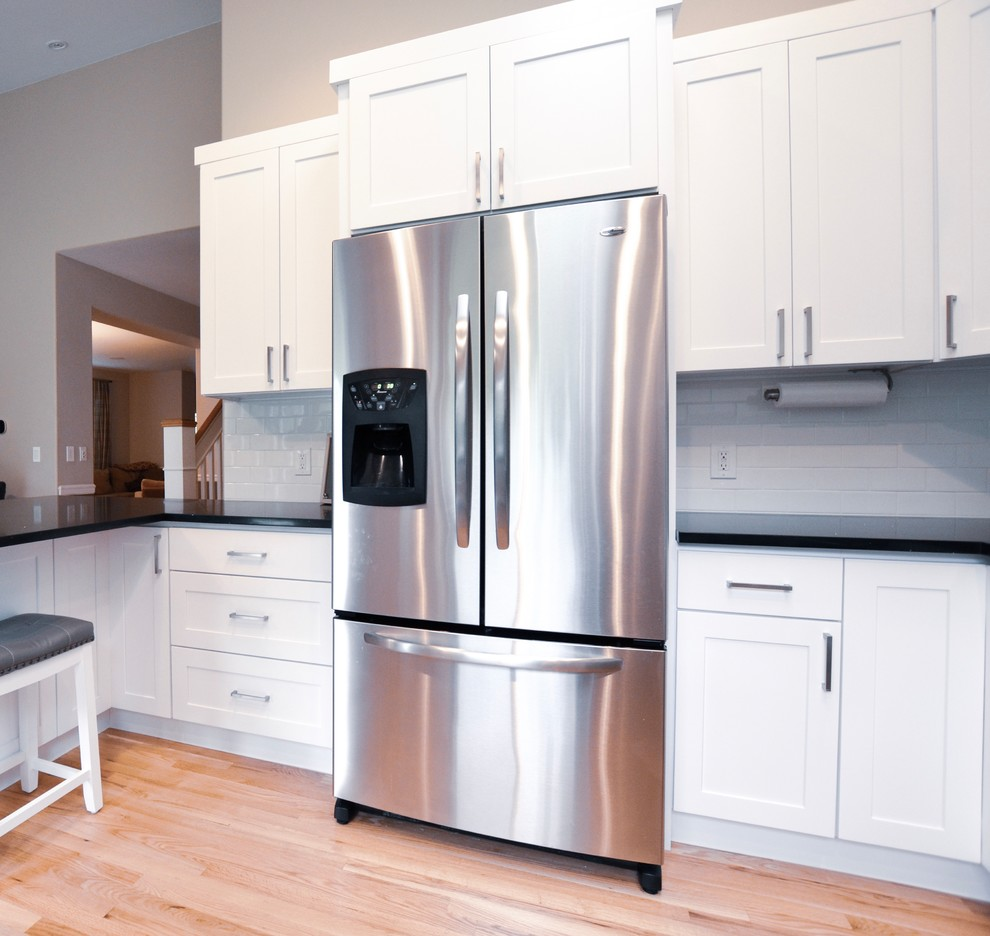Traditional White Kitchen, Galaxy Granite Countertops ... on Light Maple Cabinets With White Countertops  id=38648