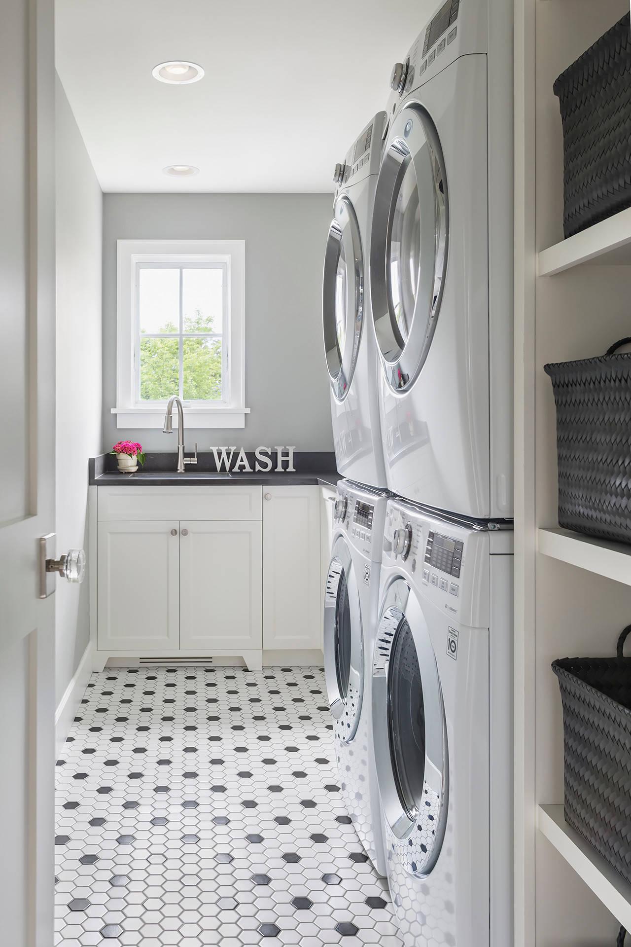 black and white tile floor laundry room