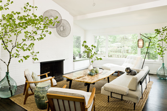 white and wood in the living room